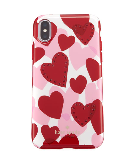 jeweled heart resin iphone X case