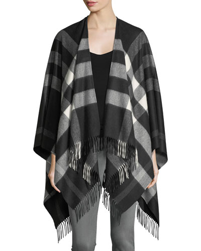 Collette Cashmere-Merino Wool Check Fringe-Trim Cape, Black
