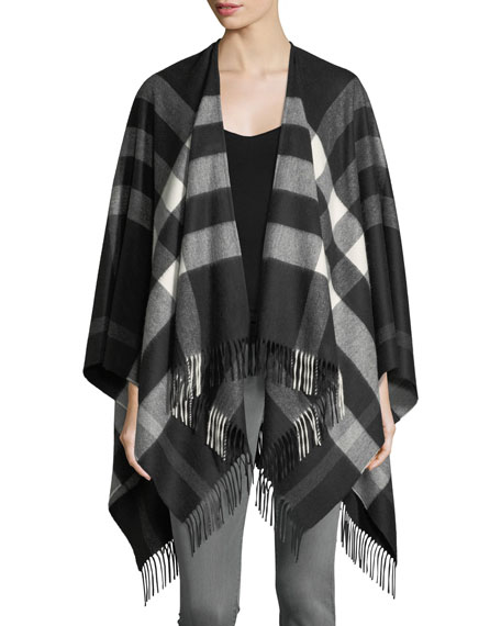 Burberry Collette Cashmere-Merino Wool Check Fringe-Trim Cape,