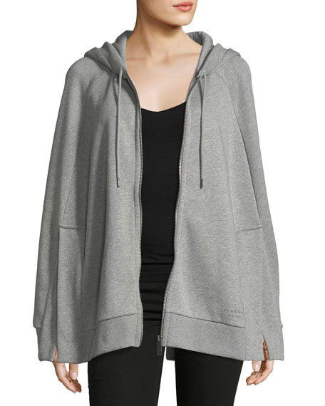 Burberry Hooded Jersey Cape, Gray