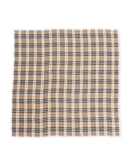 Castleford Lightweight Check Scarf, Camel