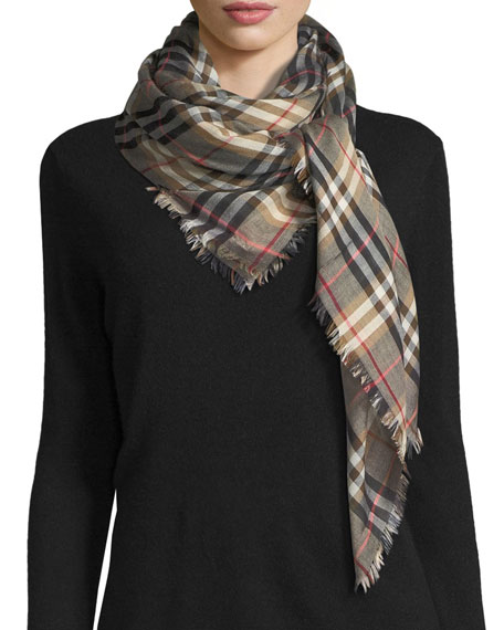 Burberry Castleford Lightweight Check Scarf, Camel