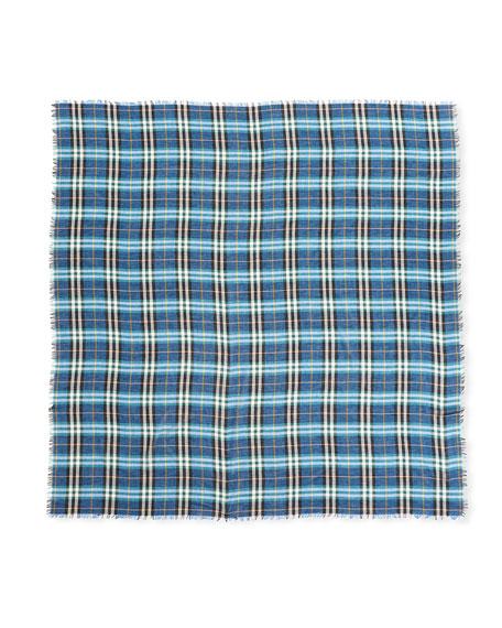 Castleford Lightweight Check Scarf, Blue