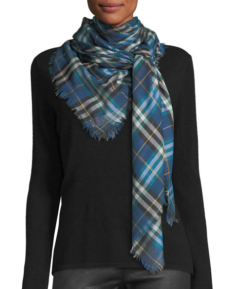 Burberry Castleford Lightweight Check Scarf, Blue