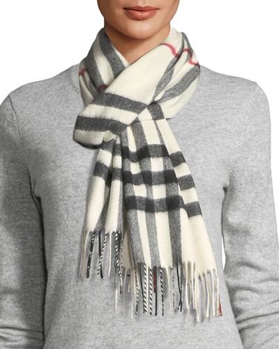 Giant-Check Cashmere Scarf, White