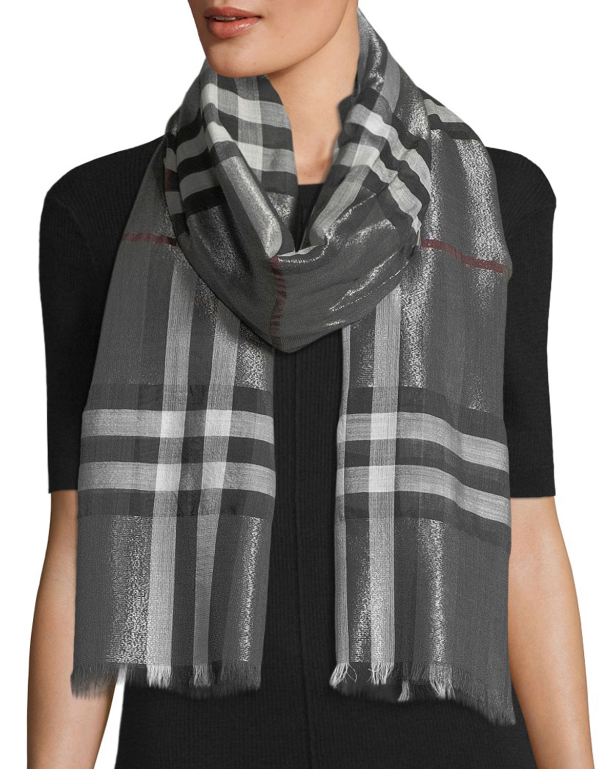 35afe4dd1a ... closeout quick look. burberry metallic gauze giant check scarf 1aa43  da365