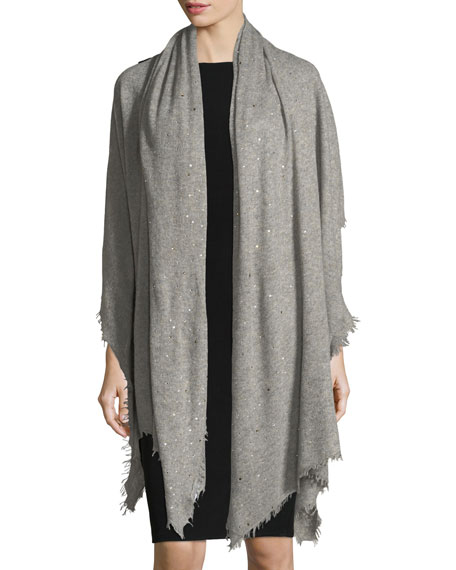 Scattered Sparkle Frame Cashmere Stole, Light Gray