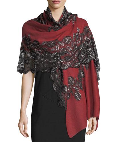 Pumice Lace-Overlay Evening Stole/Wrap, Purple/Black