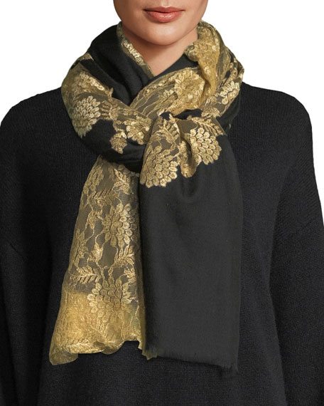 Bindya Pumice Lace-Overlay Evening Stole/Wrap, Black/Gold