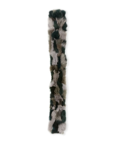Fur Pull-Through Scarf, Gray Pattern