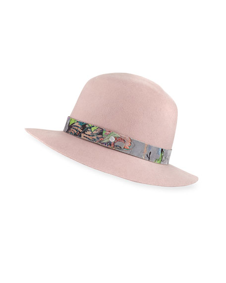 Floppy Brim Wool Fedora Hat w/ Velvet Band
