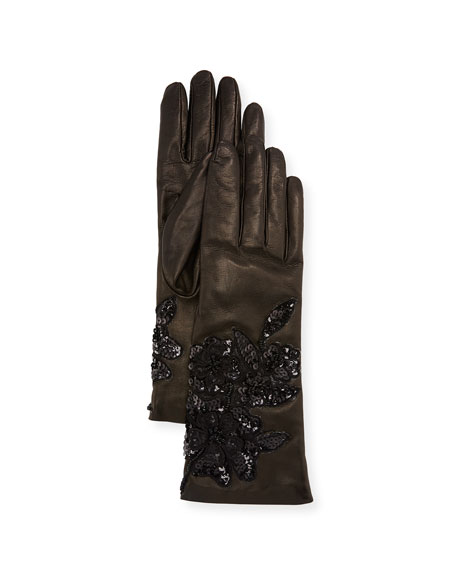 Sequin Roses Leather Gloves