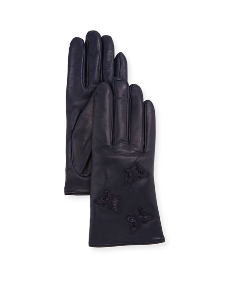 Sequin Butterfly Leather Gloves