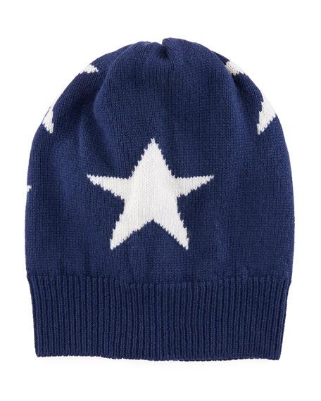 Cashmere Star Beanie Hat, Navy
