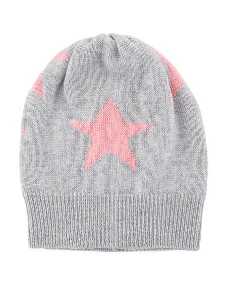 Rosie Sugden Cashmere Star Beanie Hat, Gray/Pink