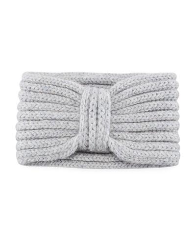 Hand-Knit Cashmere Ear Warmer, Gray