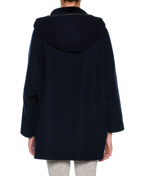 Zip-Front Cape Hoodie Jacket with Sheared Mink