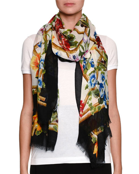 Bamboo Climbing-Flowers Print Modal-Cashmere Scarf