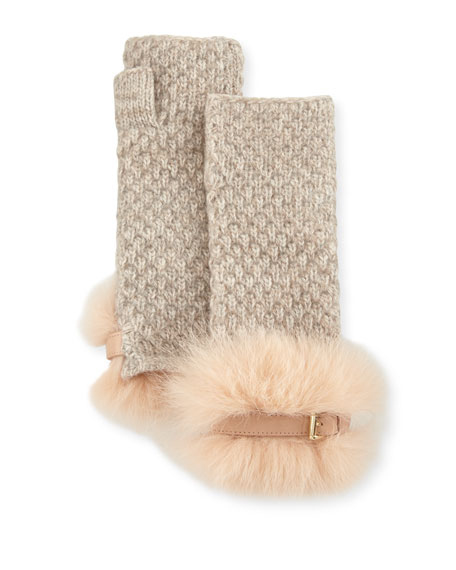 Cashmere Fingerless Gloves w/ Fur & Buckle Cuffs