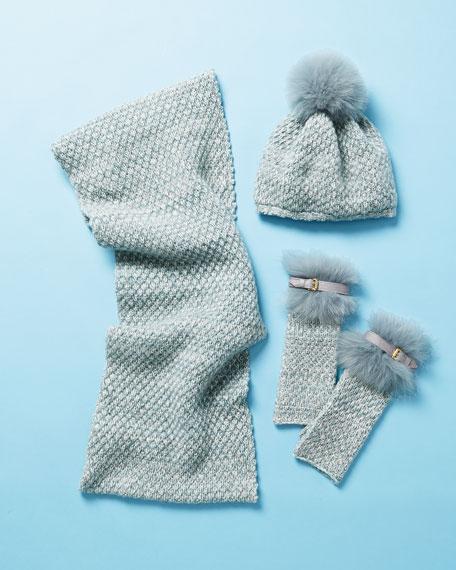 Cashmere Fingerless Gloves w/ Fur & Buckle Cuffs