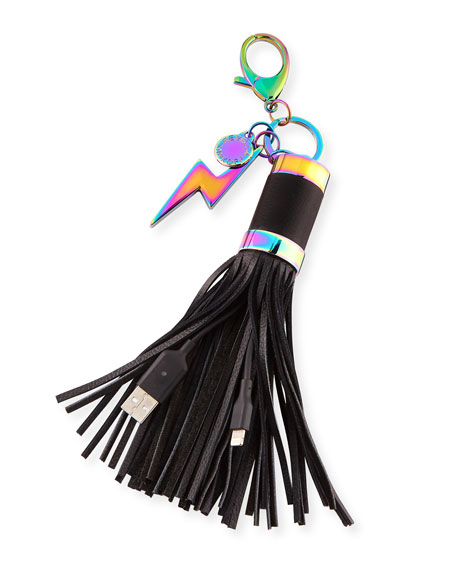 Power Tassel Bag Charm/Key Fob with iPhone Charging Cable, Oil Slick