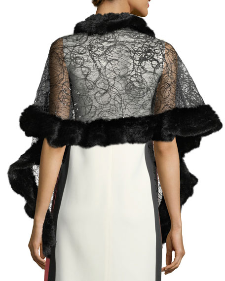 Knitted Mink Fur-Trimmed Lace Evening Wrap