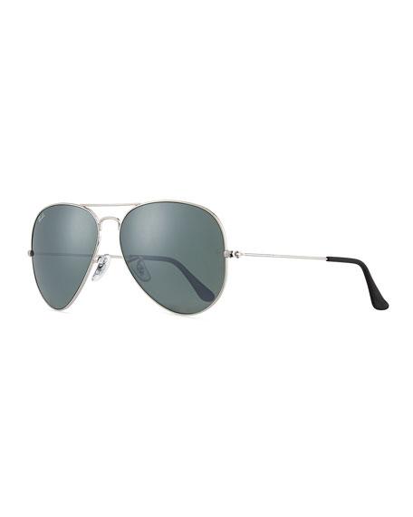 Cry Mirrored Aviator Sunglasses, Silver