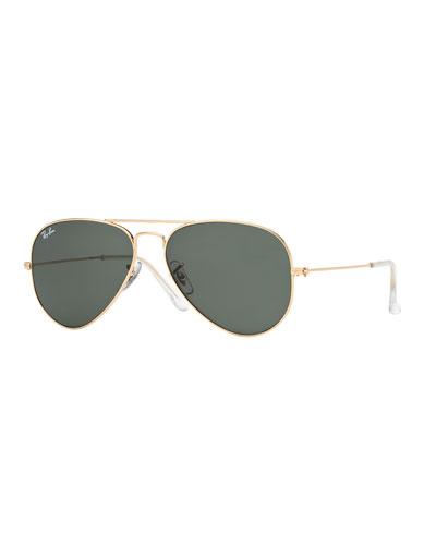 Monochromatic Metal Aviator Sunglasses, Yellow Pattern