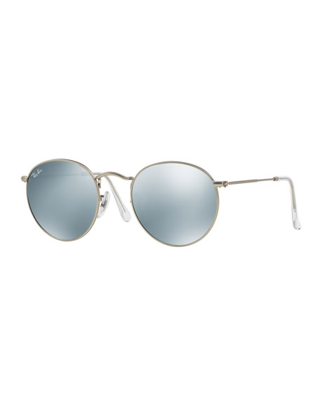 Round Mirrored Sunglasses, Gray
