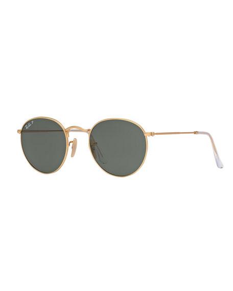Round Mirrored Sunglasses, Yellow Pattern