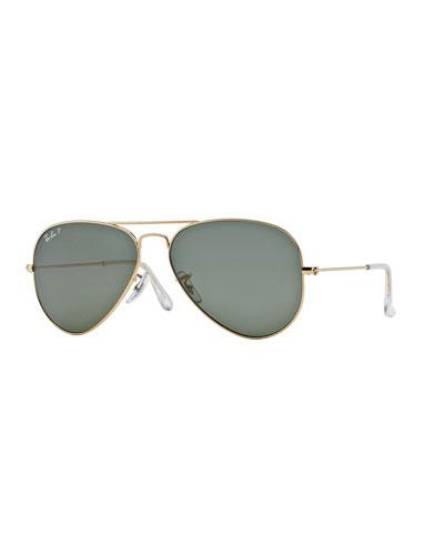 Monochromatic Polarized Metal Aviator Sunglasses, Yellow Pattern