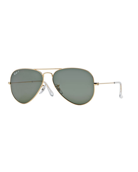 Ray-Ban Monochromatic Polarized Metal Aviator Sunglasses, Yellow