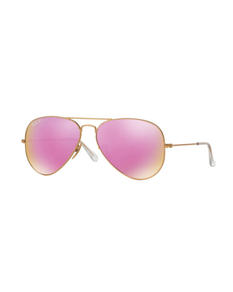 Ray-Ban Mirrored Polarized Metal Aviator Sunglasses, Pink Pattern