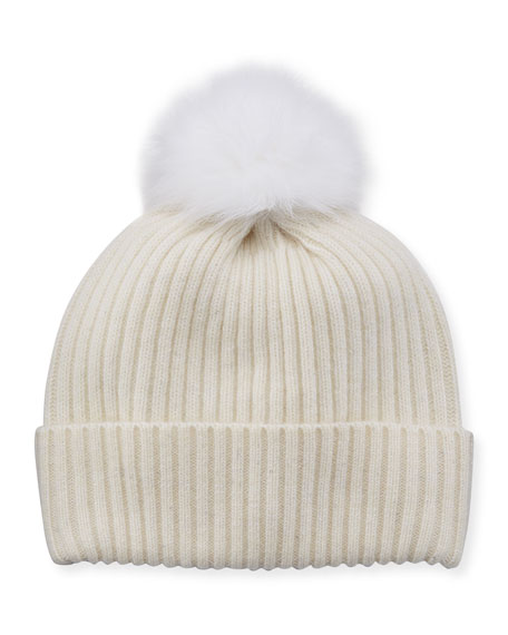 Sequin Knit Hat w/ Fur Pompom, Ivory