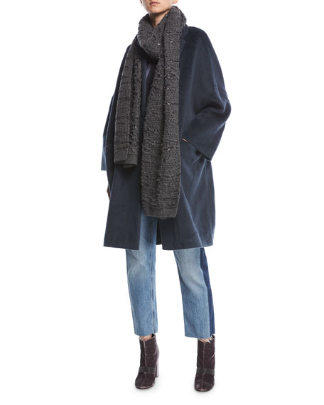 Brunello Cucinelli Textured Knit Alpaca Car Coat and