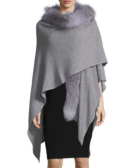 Sofia Cashmere Cashmere-Blend Sequin Ruana Wrap w/ Fur