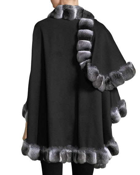 Chinchilla Fur-Trimmed Cashmere U-Cape