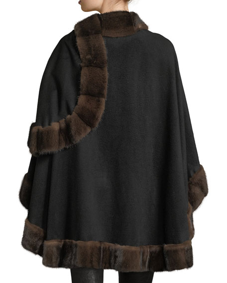 Mink Fur-Trimmed Cashmere U-Cape