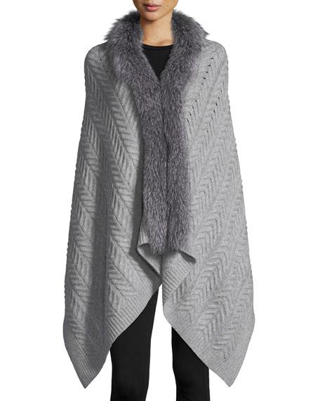 Cashmere Staghorn Chunky Knit Wrap w/ Fur Trim