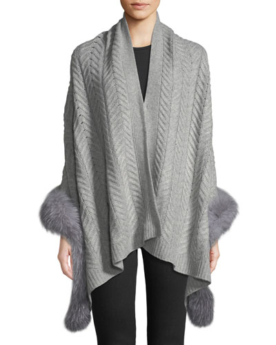 Staghorn Chunky Knit Wrap w/ Fur Trim