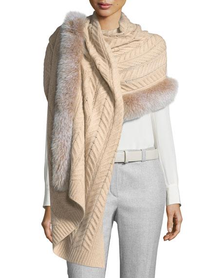 Sofia Cashmere Staghorn Chunky-Knit Cashmere Stole w/ Fur