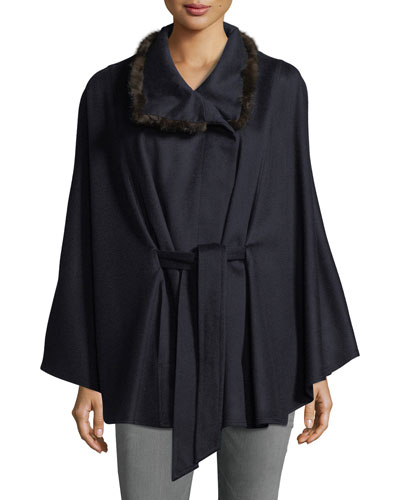 Cashmere Cape w/ Cross Cut Mink Fur Collar