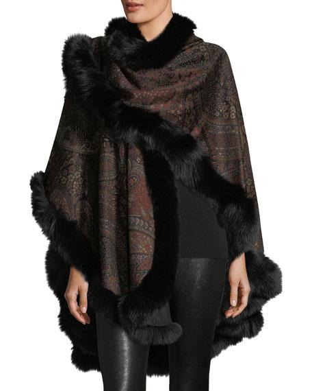 Cashmere Venetian-Print U-Cape w/ Fox Fur Trim