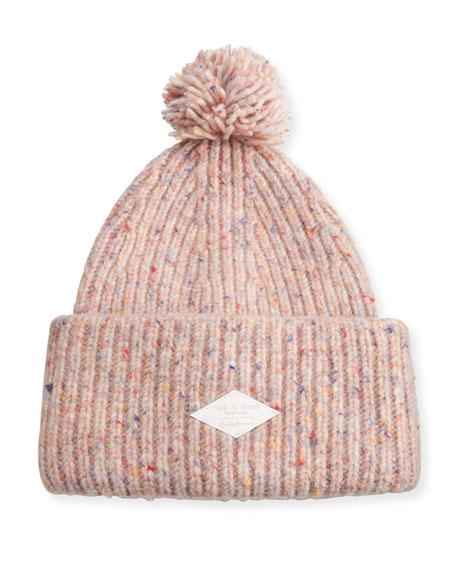 Devin Boucle-Knit Beanie w/ Pompom