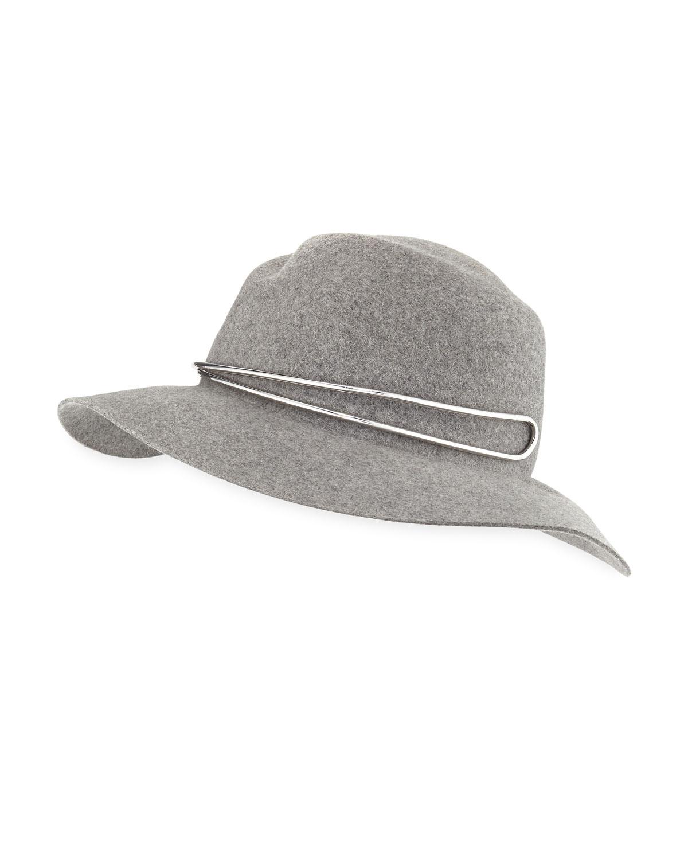 15888a44fd9 Rag   Bone Zoe Fedora Hat w  Silvertone Hardware