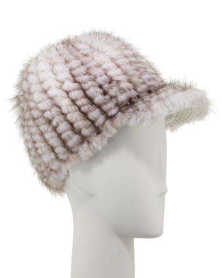 Knit Mink Fur Jockey Hat, Pearl