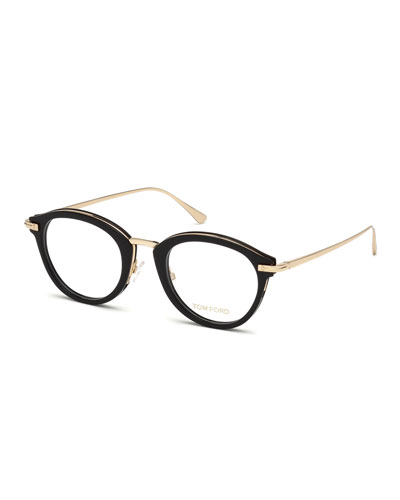 Oval Acetate & Metal Optical Frames, Black Metallic