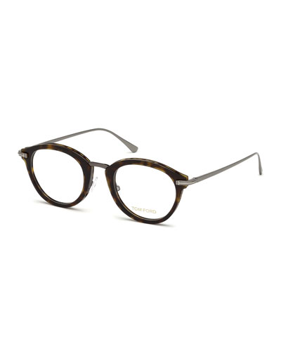 Oval Acetate & Metal Optical Frames, Brown Pattern