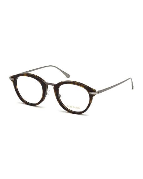 Oval Acetate & Metal Optical Frames, Brown Pattern