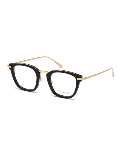 Square Shiny Acetate & Metal Optical Frames, Black Metallic